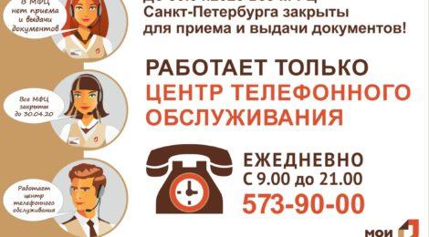 О РЕЖИМЕ РАБОТЫ МФЦ САНКТ-ПЕТЕРБУРГА С 11.04.2020 ПО 30.04.2020